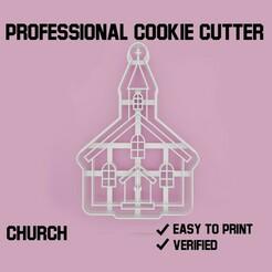 church cookie cutter.jpg Télécharger fichier STL Découpeur de biscuits d'église • Objet pour imprimante 3D, Cookiecutters