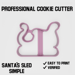 Santa´s sled simple cookie cutter2.png Télécharger fichier STL Le traîneau du Père Noël simple Coupe-biscuits • Objet pour imprimante 3D, Cookiecutters