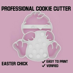 easter chick cookie cutter.jpg Télécharger fichier STL Poussin de Pâques Découpeur de biscuits • Objet à imprimer en 3D, Cookiecutters