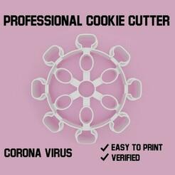 corona virus cookie cutter.jpg Télécharger fichier STL Virus de la corona Coupe-biscuit • Objet pour imprimante 3D, Cookiecutters