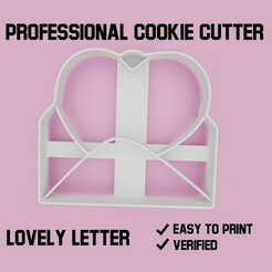 Lovely letter1.jpg Download STL file Lovely letter cookie cutter • Model to 3D print, Cookiecutters