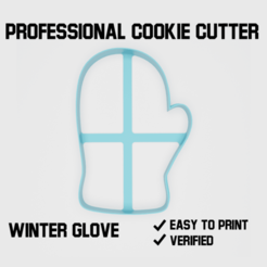 winter glove cookie cutter2.png Download STL file Winter glove Cookie cutter • 3D print object, Cookiecutters