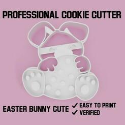 easter bunny cute cookie cutter.jpg Télécharger fichier STL Lapin de Pâques mignon Coupe-biscuit • Design pour impression 3D, Cookiecutters