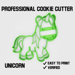 unicorn2.png Download STL file Unicorn Cookie cutter • 3D printable model, Cookiecutters