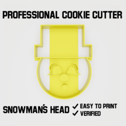 Snowman´s head cookie cutter2000.png Download STL file Snowman´s head Cookie cutter • 3D printer template, Cookiecutters