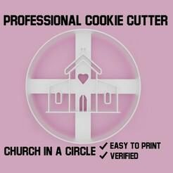 church in a circle cookie cutter.jpg Télécharger fichier STL Église en cercle Coupe-biscuit • Objet pour imprimante 3D, Cookiecutters