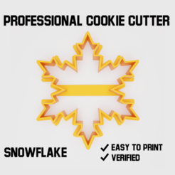 Snowflake cookie cutter2.png Download STL file Snowflake Cookie cutter • 3D printing design, Cookiecutters