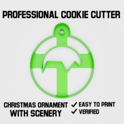 Christmas ornament with scenery cookie cutter2.png Download STL file Christmas ornament with scenery Cookie cutter • 3D print model, Cookiecutters