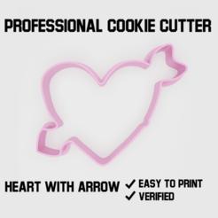 Heart with arrow cookie cutter.png Télécharger fichier STL Coeur avec un emporte-pièce en forme de flèche • Design à imprimer en 3D, Cookiecutters
