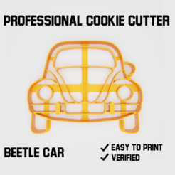sablona.png Download STL file Beetle car Cookie cutter • Model to 3D print, Cookiecutters