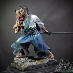 Lone wolf.jpg Download STL file Lone Wolf and Cub Pre-Supported • Design to 3D print, Spare_Oom_Studio