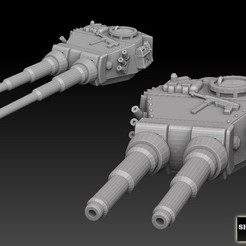 doublecannons promo.jpg Download STL file Double Barrelled Tiger Tank Turrets • 3D printer design, SharedogMiniatures