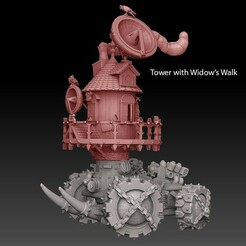 weirdtower widows walk side cleaned colored texted.jpg Download STL file Panzer Buggy Mobile Tower • Object to 3D print, SharedogMiniatures
