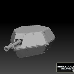 turretgunassembedforCG.jpg Download STL file Tank Box Gun Turret • 3D print object, SharedogMiniatures