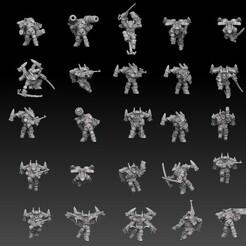 astroknight rocketmen display1.jpg Download STL file Astroknight Rocketmen Megapack • Object to 3D print, SharedogMiniatures