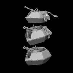 aa gun smallammo render front trio.jpg Download STL file Anti Air Gun Turret Pillbox • 3D printing model, SharedogMiniatures