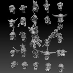 orheadsallperspectivehighrenderside.jpg Download STL file Orc Heads Megapack • Template to 3D print, SharedogMiniatures