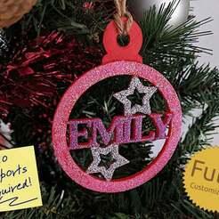 codeandmake.com_Personalised_Christmas_Bauble_Decoration_v1.0-2.jpg Télécharger fichier SCAD gratuit Décoration personnalisée de boules de Noël • Modèle pour imprimante 3D, Code_and_Make
