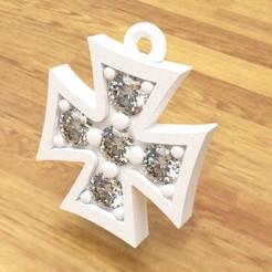 kreuz 5.jpg Télécharger fichier STL bijoux, pendentif, collier, croix, croix avec diamants, mode, réplique, 3D, STL, impression • Design pour impression 3D, paolamedina