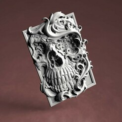 Готик череп.329.jpg Download STL file 3D model STL Gothic Skull panel • 3D printable design, 3Dfor3D