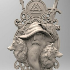 Один в шляпе с волками.135.jpg Download STL file 3D model STL Odin panel • 3D printer model, 3Dfor3D