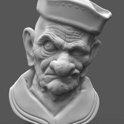 Папай.108.jpg Télécharger fichier STL Modèle 3D d'un vieux marin • Plan pour imprimante 3D, 3Dfor3D