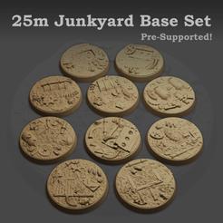 MyMiniFactoryRenderMain.png Download STL file 25mm Junkyard Base set (Supported) • 3D printing design, andynoble