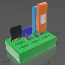 Immagine_2020-12-19_193528.png Download free SCAD file Parametric USB SD microSD card organizer holder • 3D printable model, mbrami