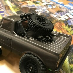 IMG_3356.JPEG Download STL file Spare wheel mount with wheel for 1:24 scale SCX24  • Model to 3D print, jaskull
