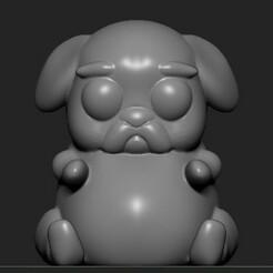 front.jpg Download free OBJ file Cute Pug • 3D printable template, jcnldado