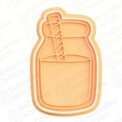 30.jpg Download STL file Milk bottle with a straw cookie cutter • 3D printable object, RxCookies