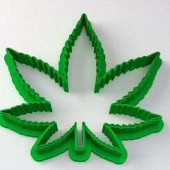CannabisCookieCutter-v2-thin.jpg Download free STL file Cannabis Cookie Cutter - Marijuana Leaf • 3D printable template, lyl3