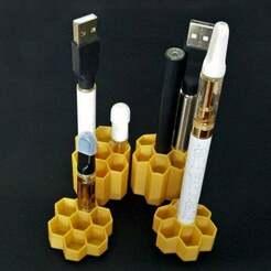VapePenStands.jpg Télécharger fichier STL gratuit Porte-stylo Vape et nid d'abeille pour le stockage des cartouches • Modèle pour impression 3D, lyl3