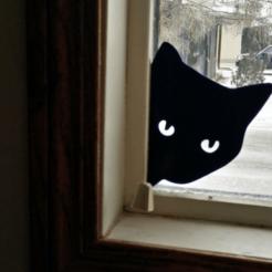 Cat-Peeking-Silhouette-800x600.png Télécharger fichier STL gratuit Silhouette d'un chat qui regarde • Objet pour imprimante 3D, lyl3