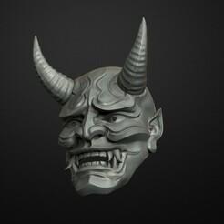 15.95.jpg Download OBJ file Traditional Japanese Hannya Mask Oni Mask Samurai Mask 3D print model • 3D print template, Maskitto