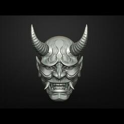 1.47.jpg Download STL file Hannya Mask Magnet on Fridge Oni Mask Samurai Mask 3D print model • 3D printer design, Maskitto