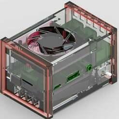Rendered_view.jpg Télécharger fichier STL gratuit Framboise PI 3 modèle B Ultimate Cooling Box • Plan à imprimer en 3D, BenjiP