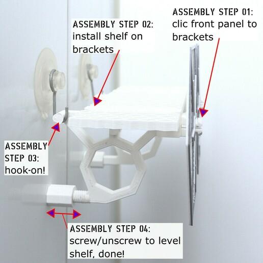 5_assembly.jpg Download STL file TIE Fighter Bathroom Shelf • 3D printer model, AdditivedIndDesigns