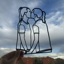 Copia de IMG_20201208_094155.jpg Télécharger fichier STL Pernille Harder & Magdalena Eriksson embrassent la silhouette • Design imprimable en 3D, my3dprintpro