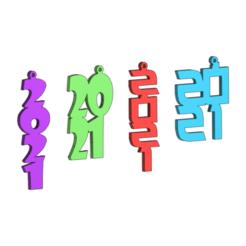2021.png Download free STL file 2021 New Year earrings pendant • Design to 3D print, DanTech