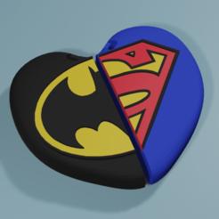 Render1.png Télécharger fichier STL Porte-clés de la Saint-Valentin de Superman et Batman • Plan pour impression 3D, octmunoz3d