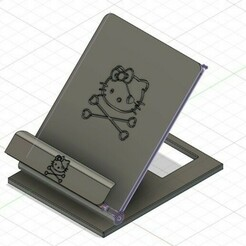 kitty-ConvertImage.jpg Télécharger fichier STL gratuit Support mobile Hello • Plan pour imprimante 3D, linuxien2694