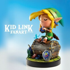 VISUELS 01.jpg Download STL file KID LINK - SITDOWN POSE - FANART - ZELDA • Model to 3D print, uly_paintminis