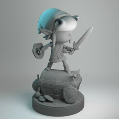 RENDER 03.jpg Download STL file KID LINK - FIGHT POSE - FANART - ZELDA • 3D printing model, uly_paintminis