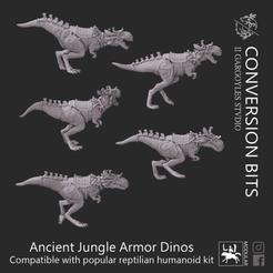 Ancient Jungle Armor Dinos.png Download STL file Reptile People dinosaur mounts • 3D printer model, IIGargoylesStudio