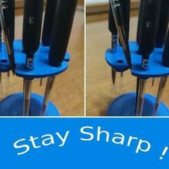 Stay Sharp.jpg Download STL file Multipurpose Brush Organizer • 3D print template, CookieMaster