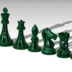 "Rendering 1.jpg Download free STL file Chess Set ""Intriguing"" • 3D print template, MarichaCaceresHuertas"