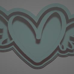 heart one.PNG Télécharger fichier STL MOULE À BISCUIT EN FORME D'AILES DE COEUR • Design pour impression 3D, Rhemj