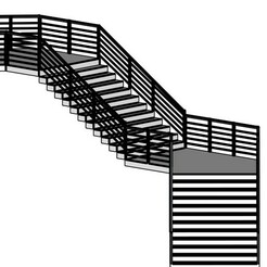 Modern Staircase in minimalist style with two landings 1.jpg Download OBJ file A Modern Staircase in minimalist style with two landings and railings designed by Shawlin Islam • 3D printing template, shawlin