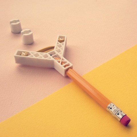 Pencil Slingshot (DESKTOP TOYS II) 3D printer file, Juzbox